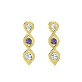 Round Iolite 18K Yellow Gold Earring with Diamond