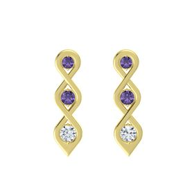 Round Iolite 18K Yellow Gold Earring with Iolite and Diamond