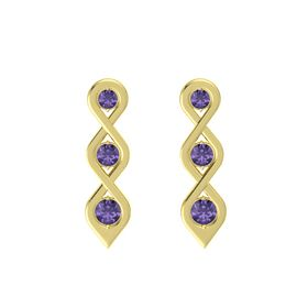 Round Iolite 18K Yellow Gold Earring with Iolite