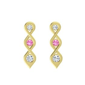 Round Pink Tourmaline 18K Yellow Gold Earring with Diamond