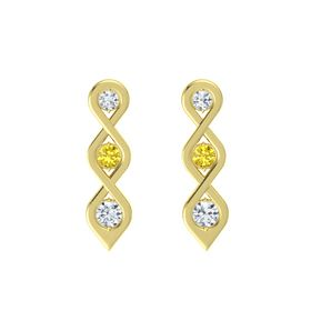 Round Yellow Sapphire 18K Yellow Gold Earring with Diamond