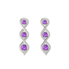 Round Amethyst Platinum Earrings with Amethyst