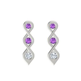 Round Amethyst Platinum Earring with Amethyst and Diamond
