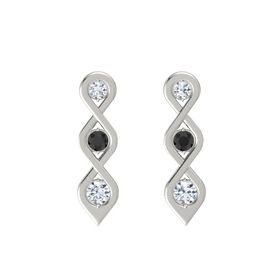 Round Black Diamond Platinum Earring with Diamond