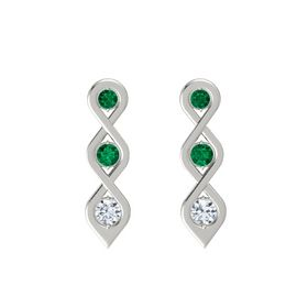 Round Emerald Platinum Earring with Emerald and Diamond