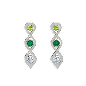 Round Emerald Platinum Earrings with Peridot & Diamond