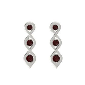 Round Red Garnet Platinum Earring with Red Garnet