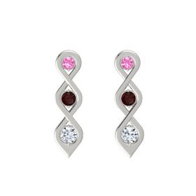 Round Red Garnet Platinum Earring with Pink Tourmaline and Diamond
