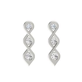 Round White Sapphire Platinum Earring with Diamond and White Sapphire