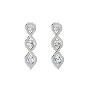 Round White Sapphire Platinum Earring with White Sapphire and Diamond