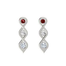 Round White Sapphire Platinum Earrings with Ruby & Diamond