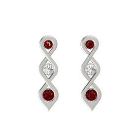 Round White Sapphire Platinum Earring with Ruby