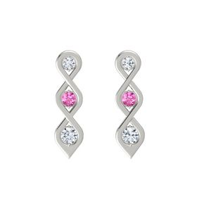 Round Pink Sapphire Platinum Earring with Diamond