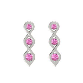 Round Pink Sapphire Platinum Earring with Pink Sapphire