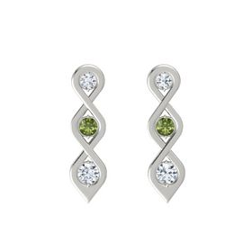 Round Green Tourmaline Platinum Earring with Diamond