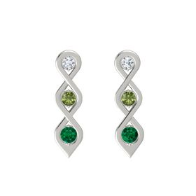 Round Green Tourmaline Platinum Earrings with Diamond & Emerald