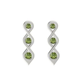 Round Green Tourmaline Platinum Earring with Green Tourmaline