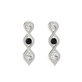 Round Black Onyx Platinum Earring with White Sapphire
