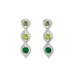 Round Peridot Platinum Earring with Green Tourmaline and Emerald