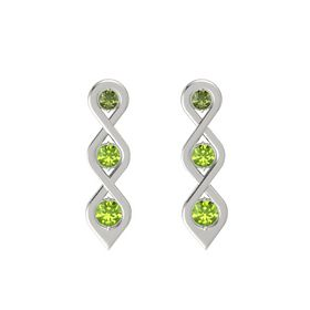 Round Peridot Platinum Earrings with Green Tourmaline & Peridot