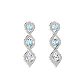 Round Aquamarine Platinum Earrings with Aquamarine & Diamond