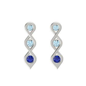 Round Aquamarine Platinum Earring with Aquamarine and Blue Sapphire