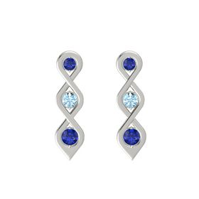 Round Aquamarine Platinum Earrings with Sapphire