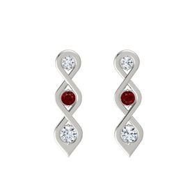 Round Ruby Platinum Earrings with Diamond