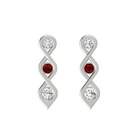 Round Ruby Platinum Earrings with Diamond & White Sapphire