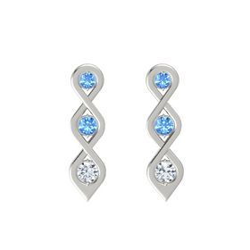 Round Blue Topaz Platinum Earring with Blue Topaz and Diamond
