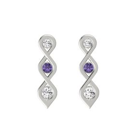 Round Iolite Platinum Earring with White Sapphire
