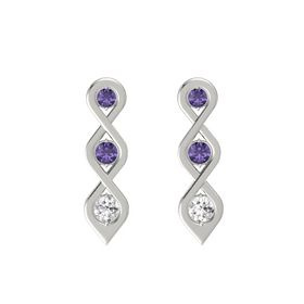 Round Iolite Platinum Earring with Iolite and White Sapphire