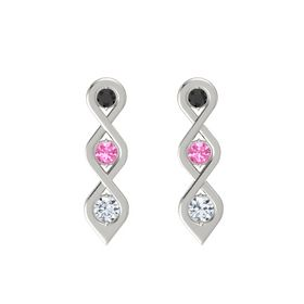 Round Pink Tourmaline Platinum Earring with Black Diamond and Diamond