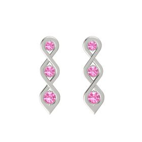 Round Pink Tourmaline Platinum Earrings with Pink Tourmaline