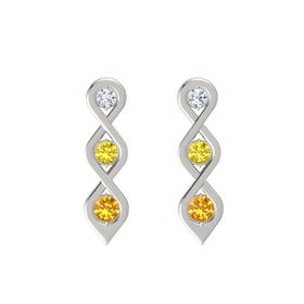 Round Yellow Sapphire Platinum Earring with Diamond and Citrine