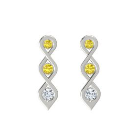 Round Yellow Sapphire Platinum Earring with Yellow Sapphire and Diamond