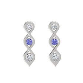 Round Tanzanite Platinum Earrings with Diamond