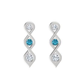 Round London Blue Topaz Sterling Silver Earring with Diamond