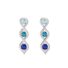 Round London Blue Topaz Sterling Silver Earrings with Aquamarine & Sapphire