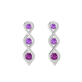 Round Amethyst Sterling Silver Earring with Amethyst and Rhodolite Garnet
