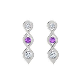 Round Amethyst Sterling Silver Earrings with Diamond