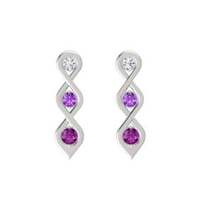 Round Amethyst Sterling Silver Earring with Diamond and Rhodolite Garnet