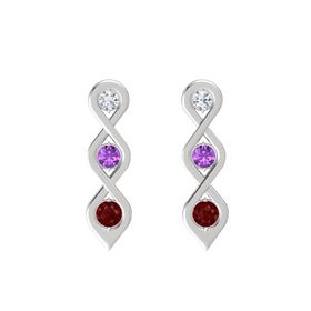 Round Amethyst Sterling Silver Earring with Diamond and Ruby