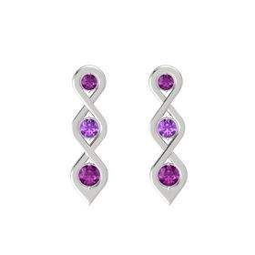 Round Amethyst Sterling Silver Earring with Rhodolite Garnet