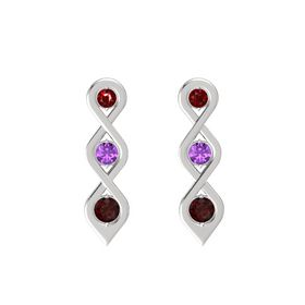 Round Amethyst Sterling Silver Earring with Ruby and Red Garnet
