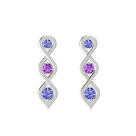 Round Amethyst Sterling Silver Earrings with Tanzanite