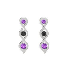 Round Black Diamond Sterling Silver Earrings with Amethyst