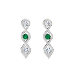 Round Emerald Sterling Silver Earring with Diamond