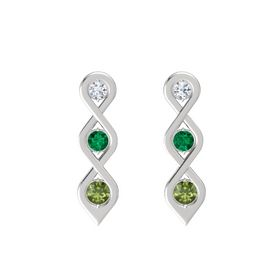 Round Emerald Sterling Silver Earring with Diamond and Green Tourmaline