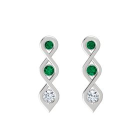 Round Emerald Sterling Silver Earring with Emerald and Diamond